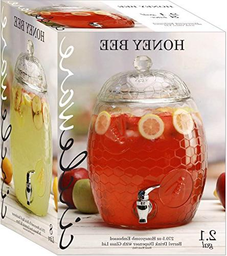 Circleware Beehive Glass Drink with Glass Lid Liters, Glassware For Kombucha Iced &