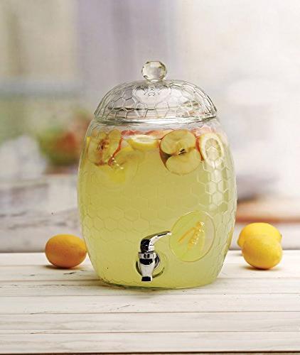 Circleware Beehive Glass Drink Beverage with Glass Lid & Handle, Liters, For Juice, Beer, Kombucha Iced &