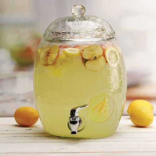 Circleware Beehive Glass Dispenser with Glass Handle, 2.1 Liters, For Water, Juice, Kombucha