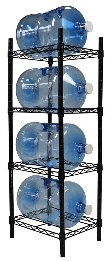 Apollo Hardware Black 4-Tier Water Bottle Storage Rack