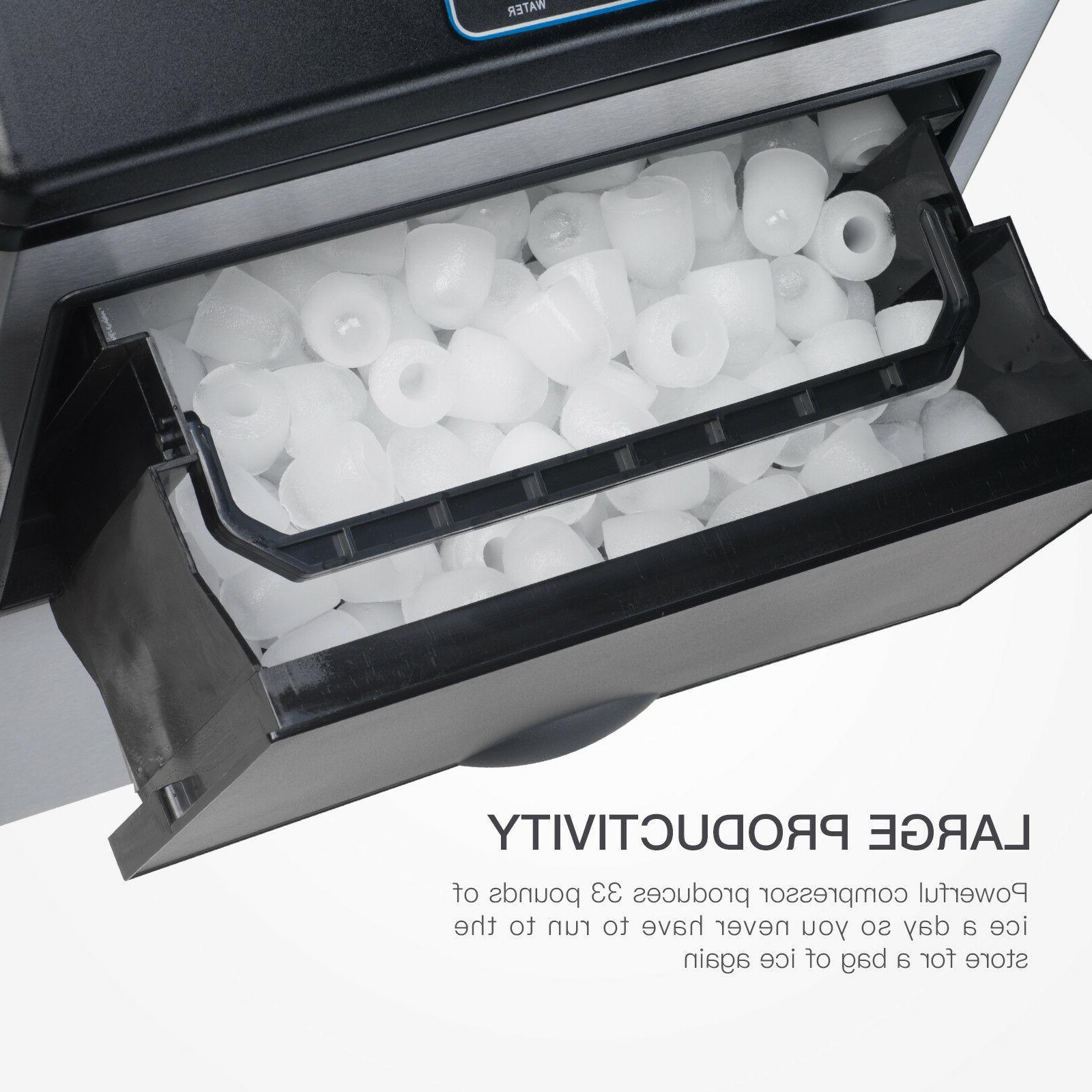 2in1 Built-In 5 Water Ice Maker Countertop Stainless Steel