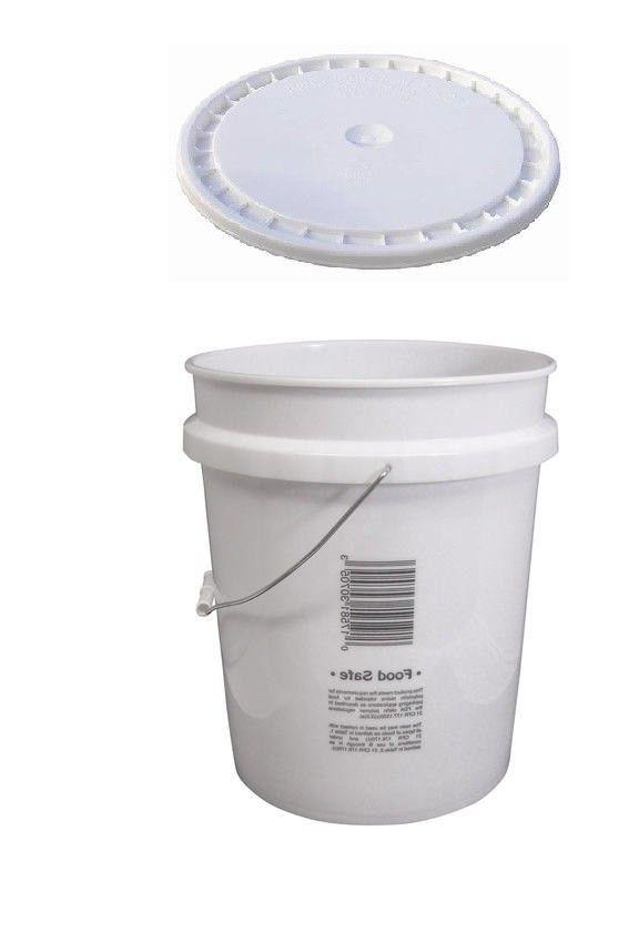 Food Grade Plastic 5 Gallon Pail White Storage Bucket with H