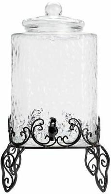 5 Gallon Hammered Glass Beverage Dispenser with Metal Stand
