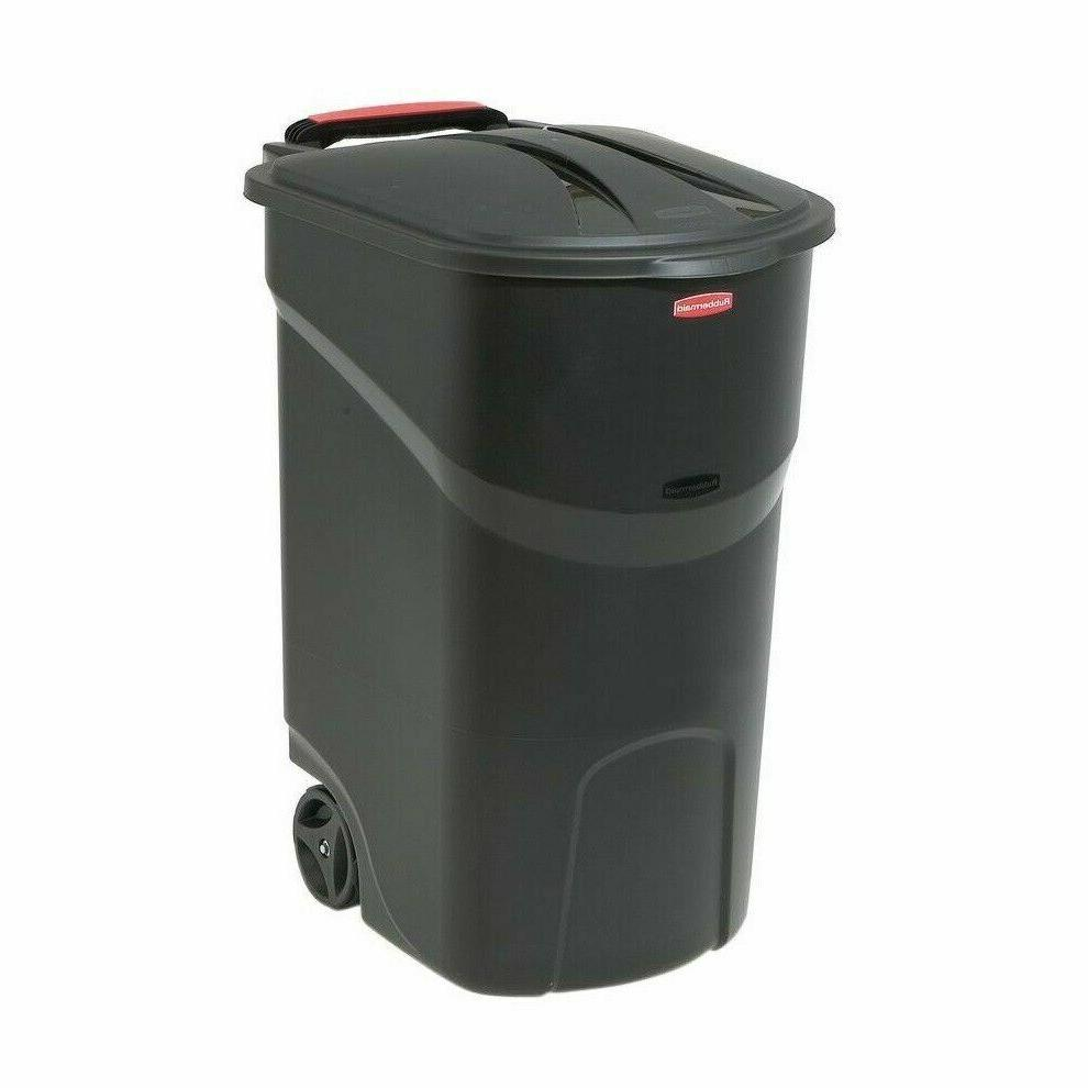 Rubbermaid 45 Black Wheeled Trash with Lid