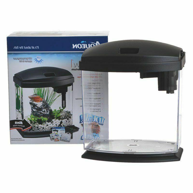 led minibow black desktop aquarium kit in