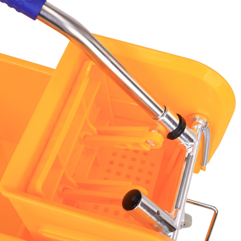 HomCom Bucket Wringer Wheels - Yellow
