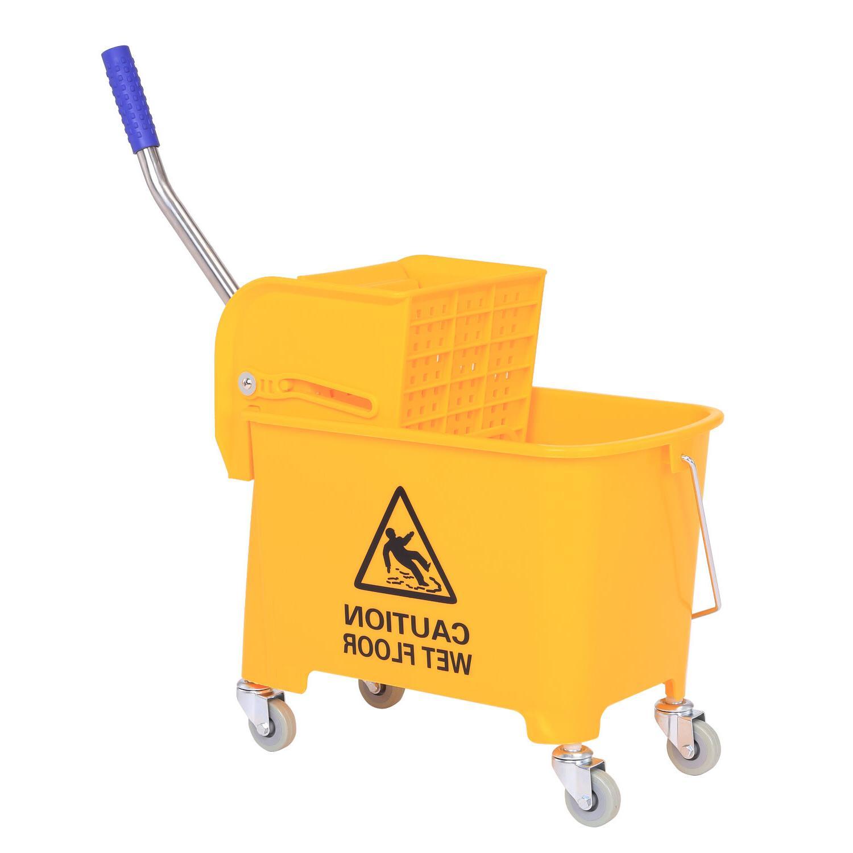 HomCom 5 Gallon Mop Bucket Wheels Yellow