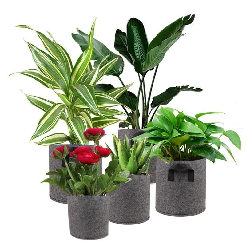 1/2/3/<font><b>5</b></font>/7/10 <font><b>Gallon</b></font> Black Felt Pots Grow Bag Garden Planters