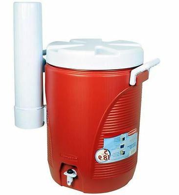 new 5 gal modern red cooler water
