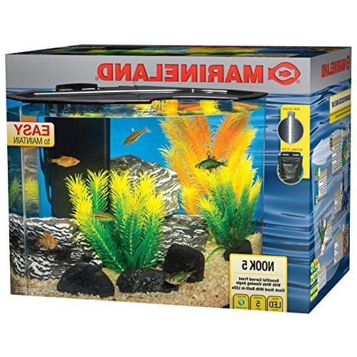 Marineland Nook Aquarium Kit, Easy to maintain, 5 gallon Tan