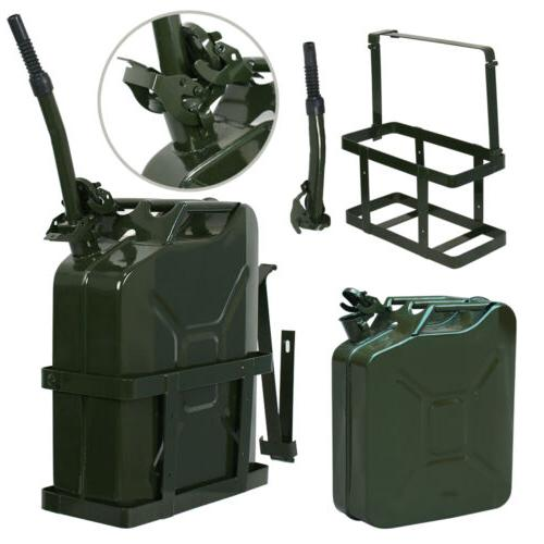 2x Can Tank w/ Holder Steel 5Gallon Military Green