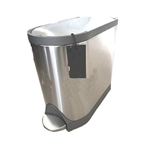 Silver Bathroom Trash Can Lid Metal Waste B