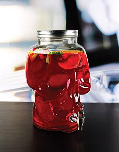 Circleware Skull Jar Glass Drink with 2.1 For Juice, Wine, Kombucha Tea Punch & Cold Drinks