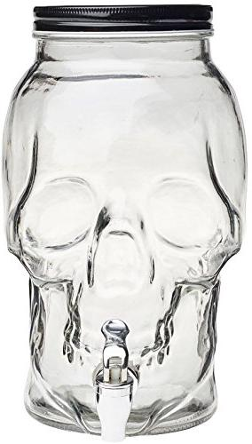 Circleware Skull Mason Glass Drink Beverage with Metal 2.1 For Water, Wine, Kombucha Iced Tea Punch Drinks