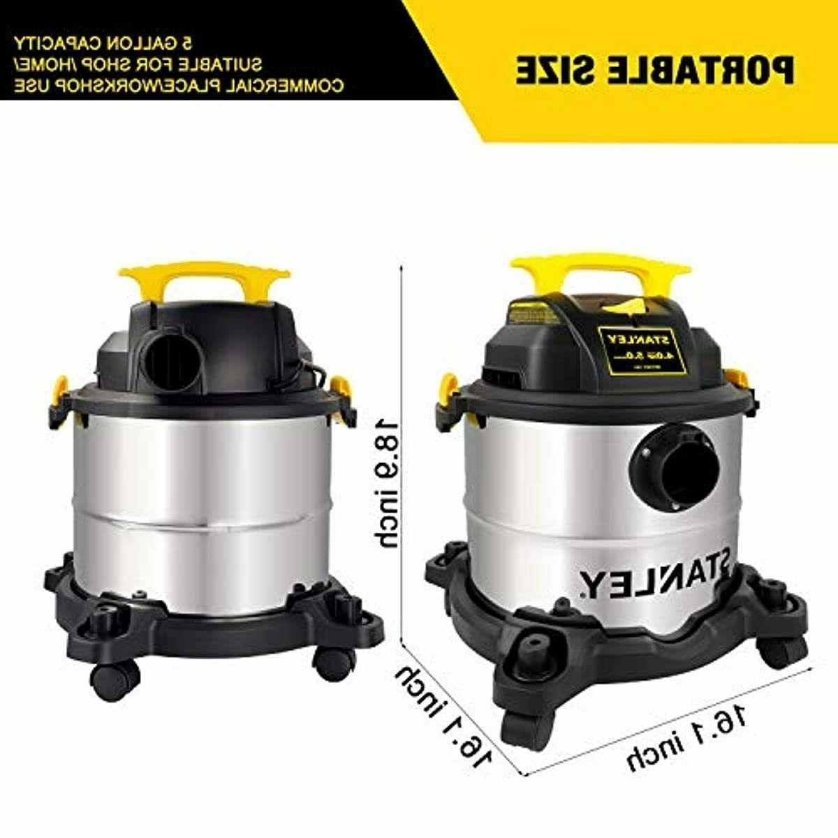 Stanley 5 Gallon Dry Vacuum, HP Stainless Steel 3 in Blowe
