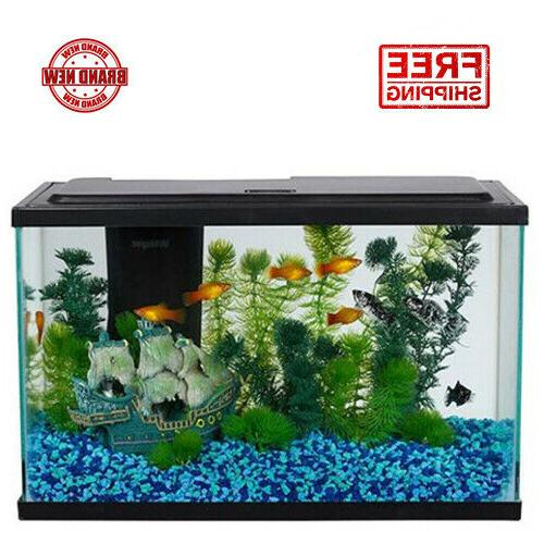 Aquarium Starter Kit W LED Light 5 Gallon Kid First Fish Tan