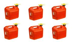 Lot of 6 No-Spill 1450 5-Gallon Poly Gas Can  RED 5 Gal