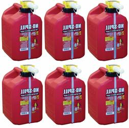 Lot of 6 No-Spill 1405 2-1/2-Gallon Poly Gas Can  RED 2.5 Ga