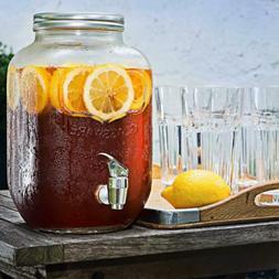 Amethya Glass Beverage Dispenser with Metal Lid