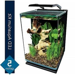 Modern 5 Gallon Portrait Fish Tank Aquarium Starter Kit with