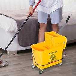 HomCom 5 Gallon Mop Bucket with Wringer on Wheels - Yellow