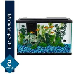NEW 5 Gallon Fresh Water Glass Fish Tank Aquarium Starter Ki