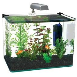 Penn Plax Curved Corner Glass Aquarium Kit, Filter, LED Ligh