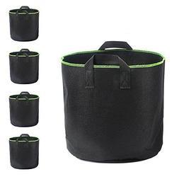 TOOGOO Plant Grow Bags,4 Pack 5 Gallons Non-woven Flower Veg