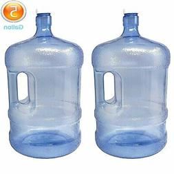 LavoHome 2-Pc Plastic Water Bottle 5 Gallons Jug Container w