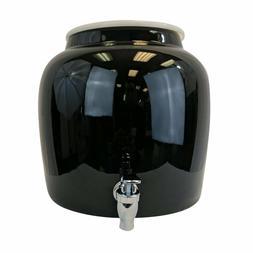 Porcelain Water Beverage Dispenser Crock - 2.5 Gallons w/ Ri