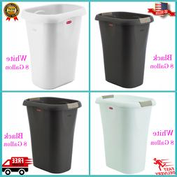 Rubbermaid Rectangular Kitchen Plastic Trash Can With Liner