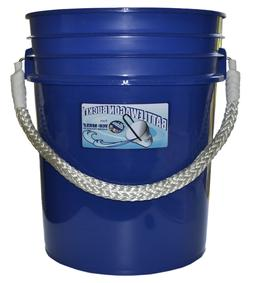Battlewagon 5 Gallon Bucket - Blue with White Rope Handle