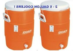 Set of 2 Igloo 5 Gallon Heavy Duty Water Cooler Orange Coole