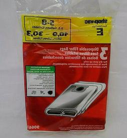Shop-Vac Type E 5-8 Gallon Disposable Filter Bags - 3 New Ba
