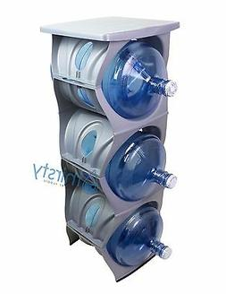 Silver Water Bottle Holder Stand 3 & 5 Gallon Rack 3 Tier St