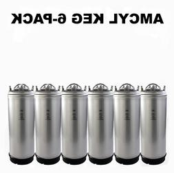 SIX PACK 5 Gallon AMCYL Ball Lock Kegs with SS strap handle