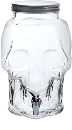 Circleware Skull Mason Jar Glass Drink Beverage Dispenser wi