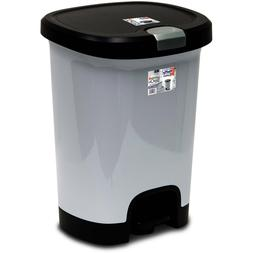 Step-On Trash Can with Lid Lock and Bottom Cap Hefty 7 Gal T