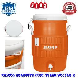 Vintage Jug Igloo 5-Gallon Orange Heavy-Duty Safety Water Be