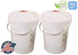 5 Gallon White BPA Free Durable Food Grade Bucket with Screw